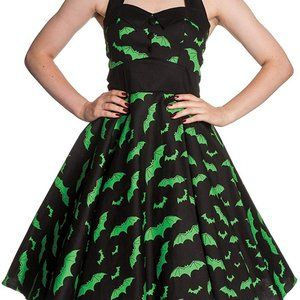 Green and Black bat dress by Hell Bunny - Small